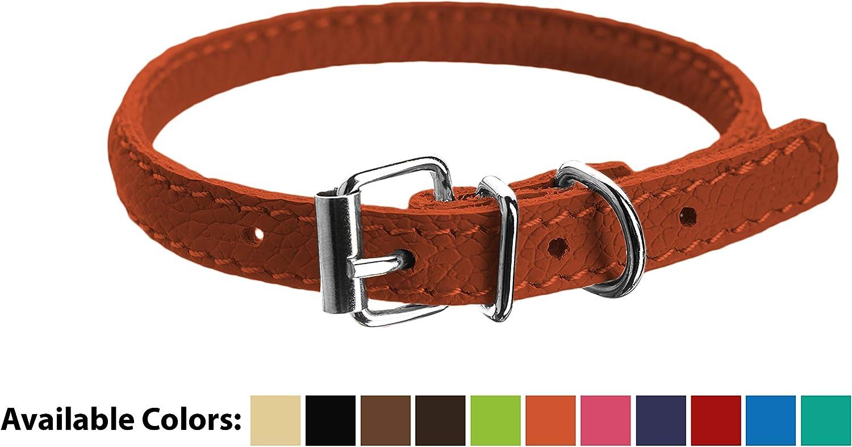 Dogline Soft Padded Rolled Round Leather Dog Collar, orange, 1013 x 1 4Inch