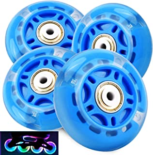 4Pcs Light Up Inline Skate Wheels, 70mm LED Flash Flashing Rollerblade Replacement Wheel with ABEC-7 Bearings for Kids & Teens