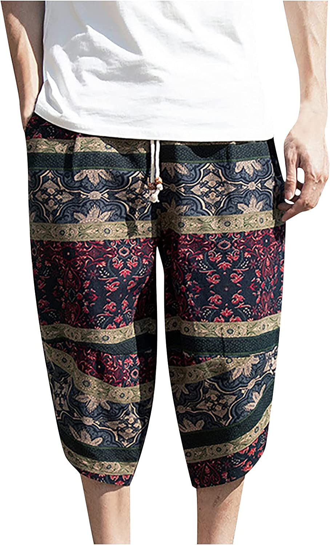 meirenruyu Men's Shorts Casual Boho Print Summer Beach Shorts Quick Dry Beach Board Shorts with Elastic Waist and Pockets