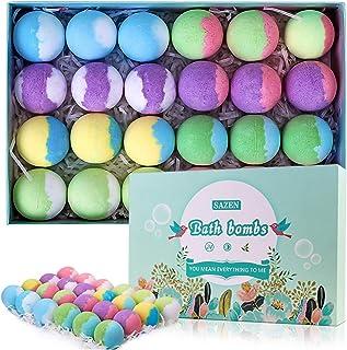 SAZEN 24Pcs Bath Bombs, Handmade Bubble Bath Bomb Ball Gift Set, Rich in Organic Natural Essential Oils, Oliver Coconut Oi...