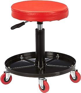 AmazonBasics Pneumatic Shop Stool, Garage Seat with 300-Pound Capacity - Red
