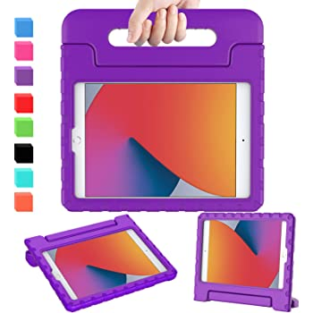AVAWO iPad 8th & 7th Generation Kids Case, iPad 10.2 2020 Kids Case, Light Weight Shock Proof Convertible Handle Stand Kids Friendly Case for iPad 10.2 inch 2019 / 2020 Release and Air 3 - Purple
