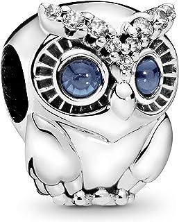 Pandora Moments Women's Sterling Silver Sparkling Owl Cubic Zirconia Bracelet Charm