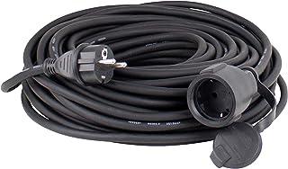 as – Schwabe Gummi-Verlängerungsleitung – 5 m Kabel mit Schutzkontaktstecker und Schutzkontaktkupplung inkl. Schutzkappe – 230 V, 16 A Verlängerungskabel – IP44 – Schwarz I 60305