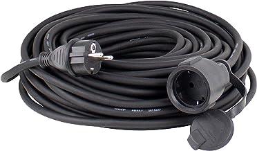 as – Schwabe Gummi-Verlängerungsleitung – 10 m Kabel mit Schutzkontaktstecker und Schutzkontaktkupplung inkl. Schutzkappe – 230 V, 16 A Verlängerungskabel – IP44 – Schwarz I 60310
