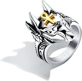 JC Fashion Jewelry Egyptian Mens The African Golden Wolf Stainless Steel Anubis Rings Gifts for Cool Men