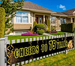 Large Happy 75th Birthday Banner, 75th Birthday Party Supplies Decorations, 75th Birthday Sign, Cheers to 75 Years (9.8 x 1.5 feet)