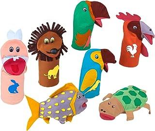 Fantoches Animais Sortidos Feltro 7 Personagens Embalagem Plástico Carlu Brinquedos