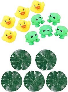 SNOWINSPRING 15 Pcs Toys Decor: 10 Pcs Baby Bath Tub Toys 5Pcs Frogs + 5Pcs Ducks & 15 Pcs Aquarium Fish Tank Green Lotus ...