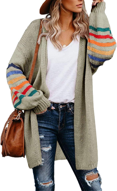 BLENCOT Women's Casual Striped Open Front Cardigans Color Block Knit Sweaters Loose Long Outwear Coat