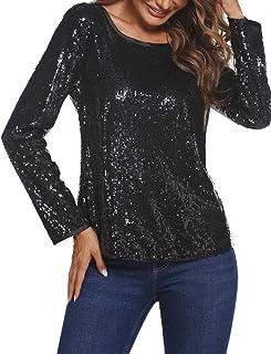 GUOCAI Womens Sequins Crewneck Long Sleeve Loose Fit Nightclub T-shirt