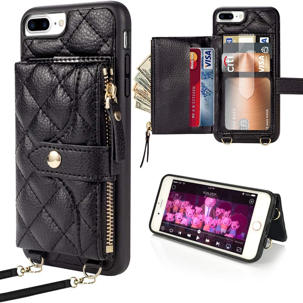 LAMEEKU Wallet Case Compatible with iPhone 7 Plus, Card Holder for iPhone 8 Plus Quilted Leather Crossbody Wallet Case for Lady with Hand Strap Shockproof Case for iPhone 7 Plus 8 Plus, 5.5 Inch-Black