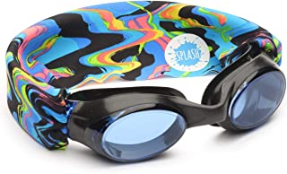 SPLASH Swim Goggles - Molten Lava - Comfortable, Fashionable, Fun - Fits Kids & Adults - Won't Pull Your Hair - Easy to Use - High Visibility Anti-Fog Lenses - Original Patent Pending Design