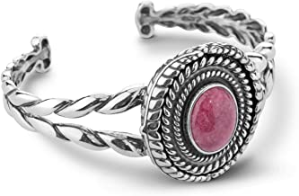 American West Sterling Silver Multi Gemstone Choice of 5 Colors Interchangeable Cuff Bracelet Size S, M or L