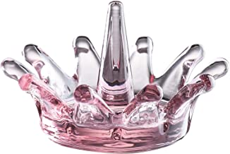 Whole Housewares Crown Shape Glass Ring Holder Dia 4.3inch Glass Jewelry Tray Organizer (Pink)