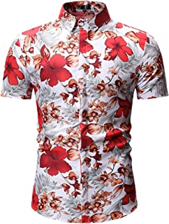 Men Shirt Short Sleeve Fashion Casual Floral Print Shirt Hawaii Beach Shirt