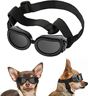 Lewondr Small Dog Sunglasses UV Protection Goggles Eye Wear Protection with Adjustable Strap...