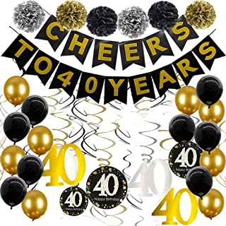 40th Birthday Decorations Party Supplies Cheers to 40 Years Banner Black and Gold 40th Birthday Party Decorations with Sparkling Celebration 40th Hanging Swirls for women men
