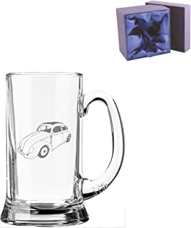 Half Pint Glass Tankard With Volkswagen Beetle Design and Silk Lined Presentation Box