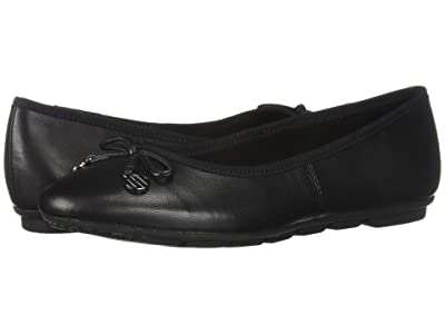 Hush Puppies Abby Bow Ballet (Black Leather) Women