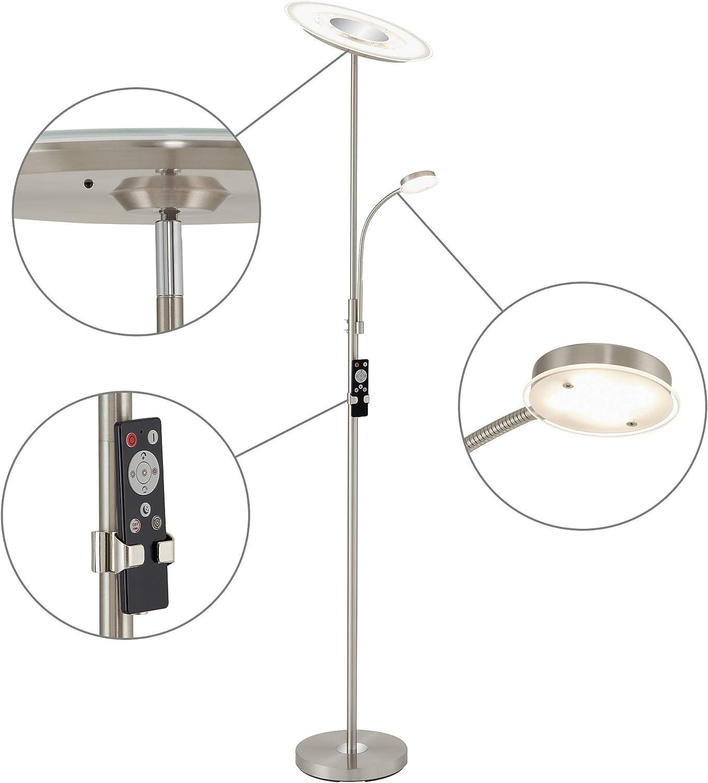 Briloner Leuchten - LED Stehleuchte, runde Stehlampe mit Lesearm, Stufenlos Dimmbar mit Fernbedienung, Metall, 24W, 2700 lm, Matt-Nickel, Hhe  180 cm