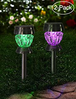 Bright Zeal 2-Pack Solar Lights Outdoor Pathway Color Changing - LED Color Changing Solar Stake Lights Waterproof - Patio Ground Lights LED Outdoor Solar Lights Outdoor Waterproof Colored Pathway