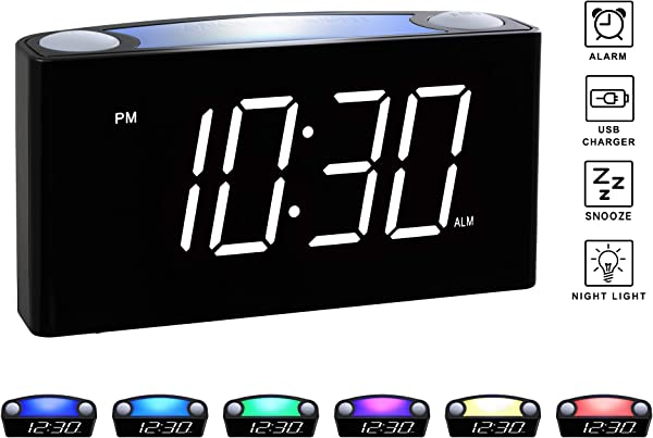 Rocam Digital Alarm Clock For Bedrooms Large 6 5 LED Display With Dimmer Snooze 7 Color Night Light Easy To Set USB Chargers Battery Backup 12 24 Hours For Heavy Sleepers Kids Desk Elderly