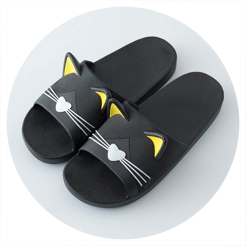 I Need-You Summer Women Slippers Cute Cartoon Cat Indoor Bathroom Animal Slipper Couples Slides Designer Flip Flops Soft shoes T1808017B,Men2,42