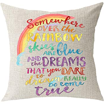 """Encouraged Saying Somewhere Over The Rainbow Sky are Blue and Dream Come True Cotton Linen Square Throw Waist Pillow Case Decorative Cushion Cover Pillowcase Sofa 18""""x 18"""""""