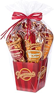 Popcornopolis Gourmet Popcorn 5 cone Gift Basket - Classic Including Caramel, Cheddar Cheese, White Cheddar, Jalapeno Cheddar and Kettle Corn