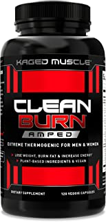Kaged Muscle Clean Burn Amped Extreme Thermogenic for Men & Women, Weight Loss Supplement with Organic Caffeine to Help Yo...