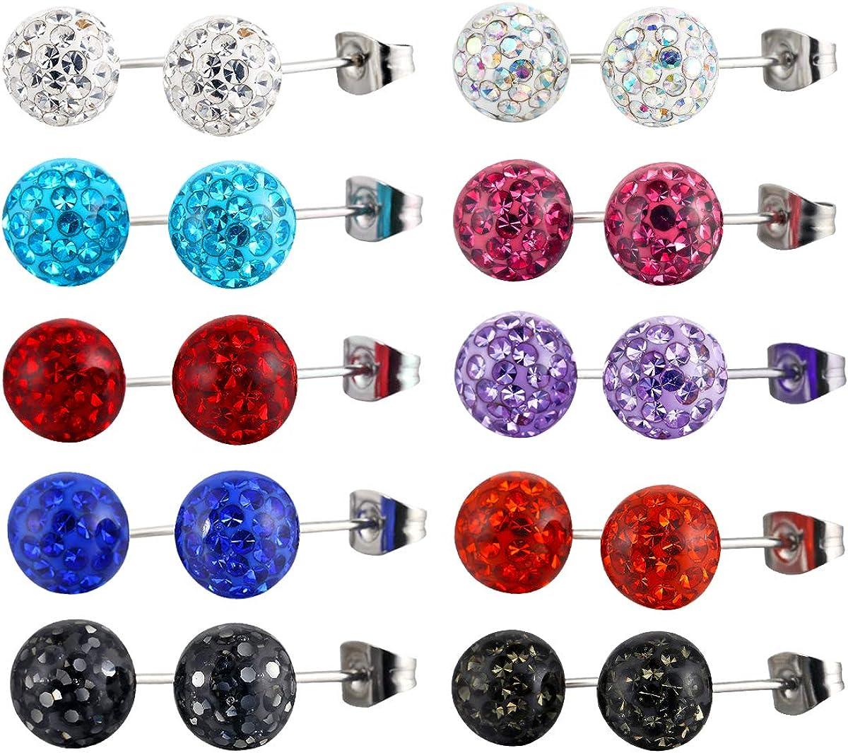 Kaiyu 10 Pair Stainless Steel Shamballa Crystal Disco Ball Pave Bead Stud Earring Hypoallergenic
