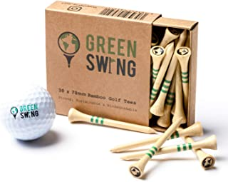 Green Swing Bamboo Golf Tees 70mm | Strong Sustainable Biodegradable | 30pcs