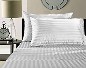 Deyarco Hotel Linen White 1 inch stripe Double Size 220 x 240 cm Bedding Set - 3 Pieces