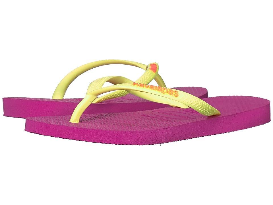 Havaianas Kids Slim Logo Pop-Up Flip Flops (Toddler/Little Kid/Big Kid) (Hollywood Rose) Girls Shoes