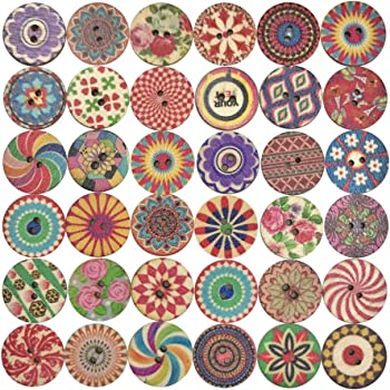 Mixed 2 Holes Wooden Retro Flower Painting Round Buttons for Sewing Crafting and DIY Craft 20mm 100 PCS