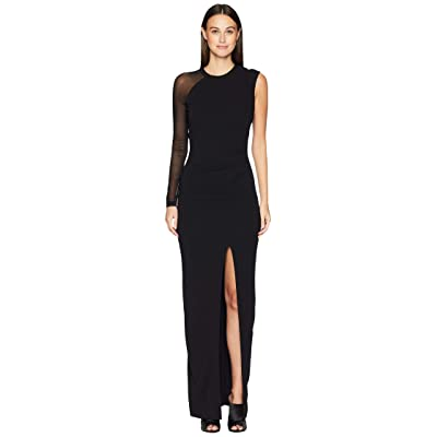 Nicole Miller Structured Heavy Jersey One Sleeve Ruched Dress (Black) Women