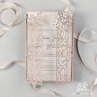 Apribile taglio laser inviti matrimonio fai da te partecipazioni matrimonio rosa carta con busta - campione prestampato !!