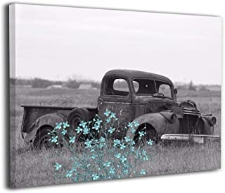"""Amonee 16""""x20"""" Canvas Wall Art Print Teal Gray Vintage Truck Flowers Framed Canvas Pictures Prints Contemporary Artwork Re..."""