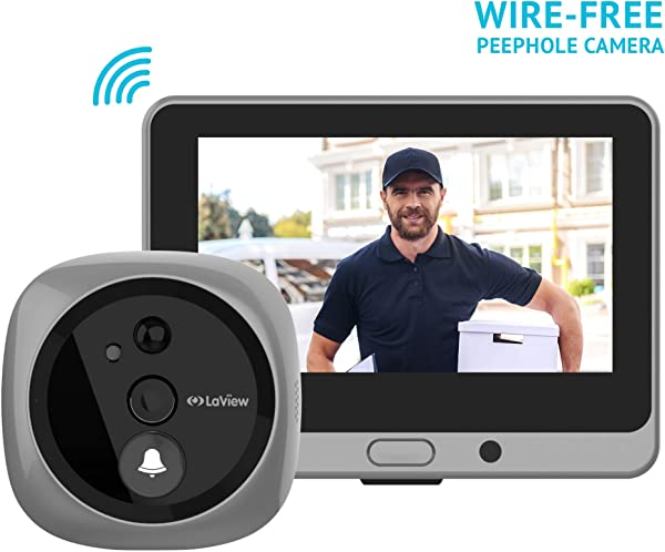 LaView Wireless Video Doorbell Wi Fi Door Bell Camera Peephole Camera With LED Touch Screen Wire Free Rechargeable Battery Night Vision Two Way Audio Mobile View