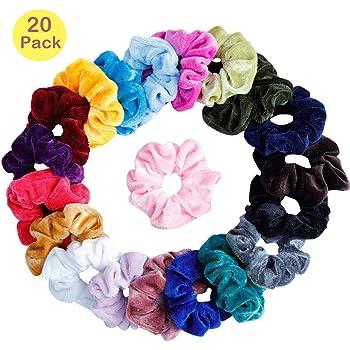 Scrunchies Terciopelo, 20 Piezas Velvet Elástico Hair Scrunchies, El Cabello Ponytail Titular Para Mujeres Niñas Accesorios: Amazon.es: Belleza