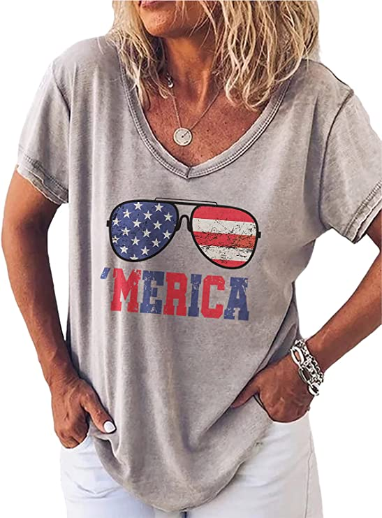 Womens Graphic Tees, Loose Casual V-Neck T-Shirt, Vintage Short Sleeve Shirt for Women