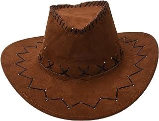 カウボーイカウガール帽子,SODIAL(R)レトロユニセックスデニムワイルドウェストカウボーイカウガールロデオファンシードレスアクセサリー帽子  ライトコーヒー