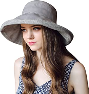 女士 UPF 50+ 渔夫太阳帽防紫外线遮阳帽可折叠夏季帽女士可调节折叠宽边卷边软棉沙滩太阳帽下巴带时尚 55-58 厘米旅行渔夫帽