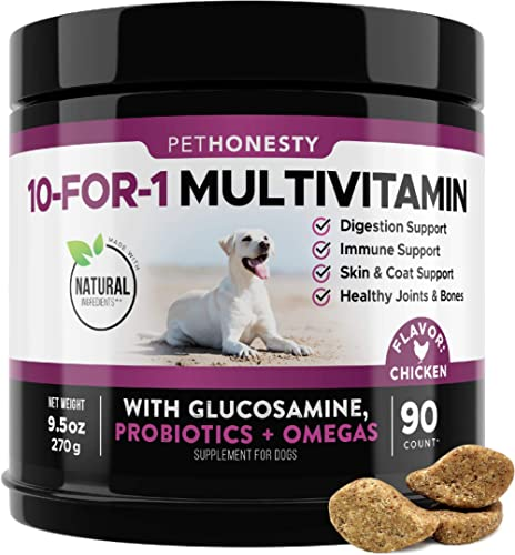 10 in 1 Dog Multivitamin with Glucosamine - Essential Dog Vitamins with Glucosamine Chondroitin, Probiotics and Omega...