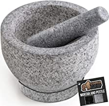 Gorilla Grip Original Mortar and Pestle Set, Slip Scratch Resistant Bottom, Heavy Duty Polished Granite Guacamole Molcajete Bowl Kitchen Spices, Herbs, Pesto Grinder, Small 5 Inch Holds 1.5 Cups, Gray