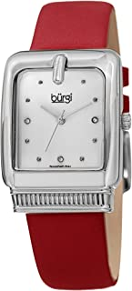 Rectangle 3 Diamond Markers Women's Watch - Genuine Leather Strap Ladies Classic Fashionable Wristwatch - BUR192