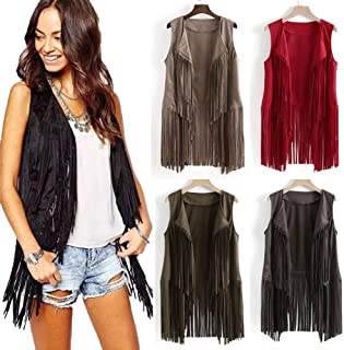 Women Vests Fashion Dressy Sleeveless Open Front Cardigan with Fringed Leather Vest Vest,Sweater Vest Women