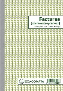 Exacompta 13293E Manifold Factures Micro entreprise 21 x 14,8 cm 50 feuillets Dupli autocopiants. Pour la réalisation de 5...