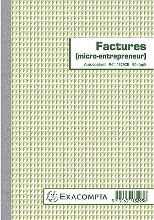 Exacompta 13293E Manifold Facture Micro Entrepreneur 21 cm x 14,8 cm 50 feuillets Autocopiant Duplicata